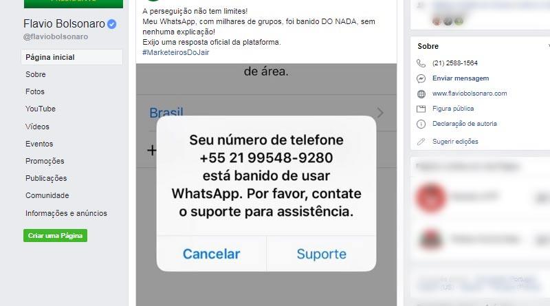 Flávio Bolsonaro tem WhatsApp banido após denúncias