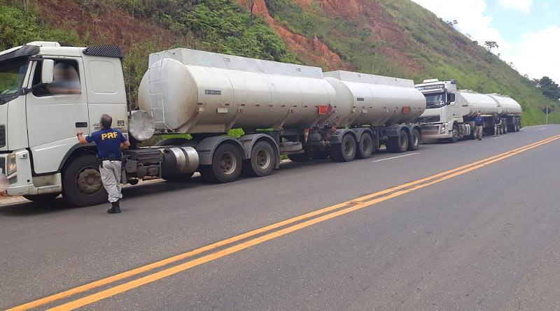 foto PRF carga irregular leopoldina - Polícia Rodoviária apreende caminhões com carga irregular de combustível