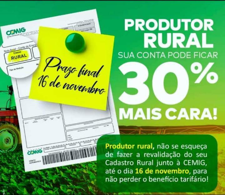 cemig recad rural - Produtores rurais devem atualizar o cadastro na Cemig